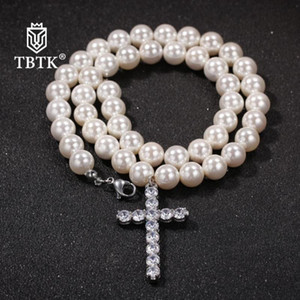 Chains TBTK Necklaces For Women Fashion 8mm 10mm Milky Shell Pearl Beards Necklace Men Trendy Jewelry White Luxury Charms