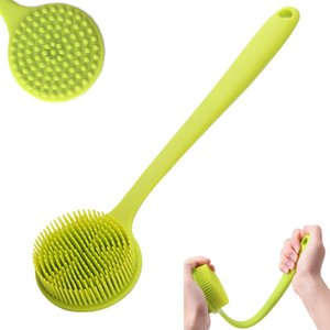 Silicone Bath Brush Long Handle Bath Shower Brushs Body Massage Brush Back Scrubber with Ultra Soft Bristle Non-Slip