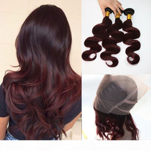 360 Lace Frontal With Bundles Two Tone Dip Dye Burgundy 99J Body Wave Ombre Human Hair Weaves Closure