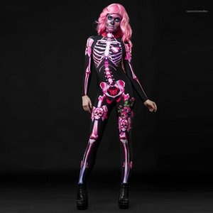 Skull Cosplay Womens Catsuit Costumes Halloween Scary Full Props Long Sleeve Party Stagewear Pink