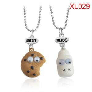 2ST / set Plätzchen Milch geformte Halskette nette Karikatur-Best Buds Kette für Frauen Mädchen Jungen Paar Freundschaft LXH