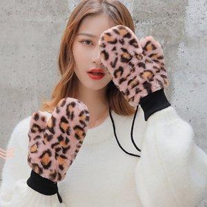 Зимний Leopard Lanyard перчатки Теплые Stretch Knit моды Популярные Утолщение Полный пальцев перчатки оптом
