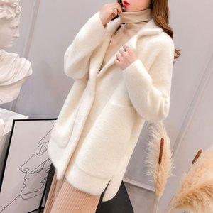 Korean Style Big Pockets Imitated Mink Wool Coat Step Collar Loose Slim Look Thick Long Jacket Women Autumn Winter New
