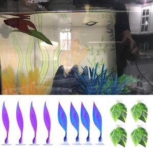 4pcs Simulazione habitat naturale Riposo Bed Betta pesce foglia Pad con ventosa