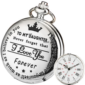 Quartz Pocket Watch Mother Father Parents To My Daughter I LOVE YOU FOREVER for Children's Day Kids GIRLS Birthday Best Gifts FOB Watches