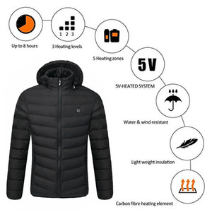 Waterproof Adjustable USB Electric Heated Outwear Outdoor Skiing Temperature Coats Winter Warm Hiking Mountaineering Cotton Coat