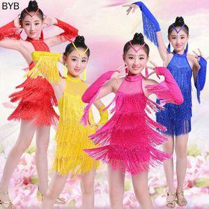 100cm-160cm Children Kids Fringe Ballroom Samba Clothes Chirldren's Day Stage Performance LatinTango Dance Dress for Girls