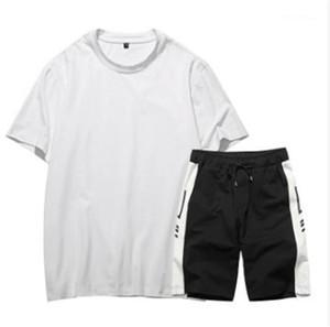 Manga curta camiseta 2PCS Sports Define Men Suits Casual Sports Mens Designer Esportes Fatos Magro Slacks