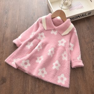 Boutique Kids Clothing Lapel Toddler Girl Dresses Long Sleeve Knitted Dresses Cotton 4 Colors Girls Winter Clothes 2-6 Years