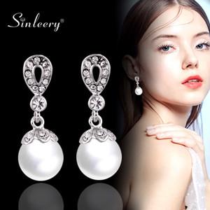 SINLEERY Elegant Gray Weiß Imitation Perle Braut Ohrringe Silber-Farben-Tropfen-Ohrringe für Frauen Hochzeit Schmuck ES191 SSB