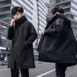 Spring Hoodies Brand 2020 New Long Trench Coats Fashion Hooded Solid Windbreaker Pocket Jackets Men 1903