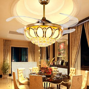 IKVVT European-style Fans Ceiling Light Luxury LED Crystal Invisible Fans Light for Living Dining Bedroom with Remote Control