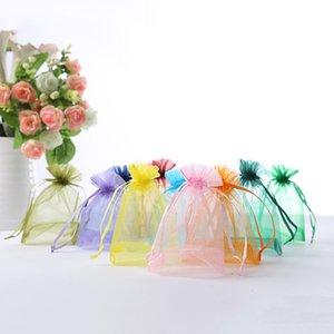 100 pc Sacchetti Organza regalo sacchetto di organza di favore di cerimonia nuziale del sacchetto Gioielli imballaggio solido semplice di colore Piccolo dolce Carino Candy Bag