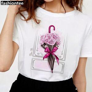FIXSYS blanca mujeres de la camiseta del nuevo del verano Flores paraguas de manga corta de señora Tops Camiseta de las señoras de las mujeres femeninas Gráfico Camiseta