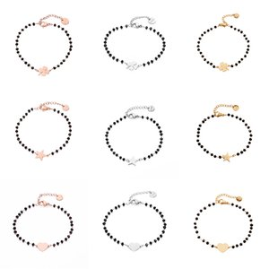 Stainless Black Crystal Beads Chain Rose Gold Heart Star Four Clover Charms Bracelet For Women 2019 Steel Jewelry
