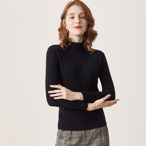 100% delle pecore della lana delle donne maglione stand collare lunghe maniche intrecciate Elegante Moda Casual Top Autunno Pullover Blouse