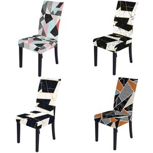 Chair Cover online 3D Digital Print slipcover geometric pattern Polyester Fabric Chair Covers for Dining Room