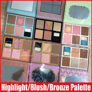 6 Стилей лицо макияж Blush Выделить Бронзовый Pink Румяна порошок палитре 5 цветов палитру с Маркером кистью
