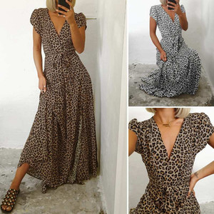 de Celmia Mulheres vestido longo 2020 Verão Sexy V-neck Leopard Print Vintage Maxi Vestido de Verão Casual Dividir Alta Parte cintura Vestidos 5XL