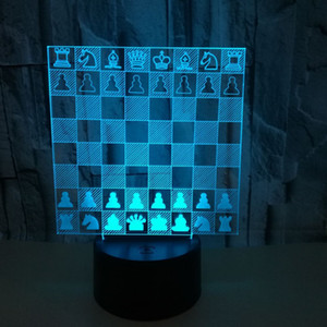 Remote Control 3D Decoration Atmosphere lamp Touch night lights Creative Chess 3d Visual Stereo table Lamp Best christmas Gift