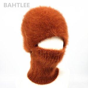 maschera da sci d'inverno BAHTLEE Balaclava angora di coniglio lavorato a maglia cappello caps sciarpa scaldacollo cappelli per gli uomini o le donne caldo pile cappello LJ200911