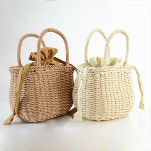 NoEnName Null Summer Women Hand Woven Rattan Bag Straw Purse Wicker Beach Wedding Handbag Summer Clutch Basket Shopping Bags
