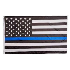 90 * 150cm Banderas BlueLine EE.UU. Policía 3x5 pies Thin Blue Line EE.UU. Bandera Negro blanco y azul americano con arandelas de latón
