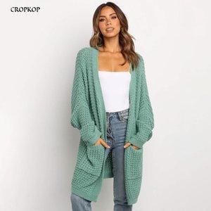 Lungo maglione verde cardigan autunno delle signore di inverno lavorato a maglia a manica lunga Donna Rosa di base Maglieria Moda 2020 Abbigliamento Donna Y200910