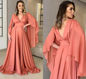 Coral Long Sleeve Evening Dresses Arabic Aso Ebi 2021 Large Size V Neck A Line Chiffon Formal Party Gowns Backless Women Prom Dress