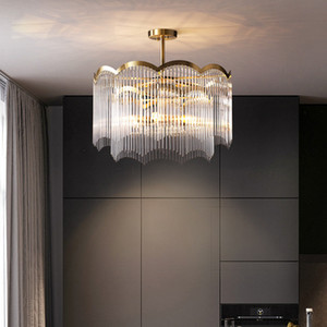 Postmodern Living Room Bedroom Chandelier Lighting Atmospheric Hotel Model Room Decoration Crystal Pendant Lamp Dining Room Glass Chandelier