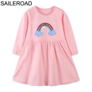 SAILEROAD arco iris de lentejuelas niñas vestido de fiesta Ropa de la ropa del bebé viste la princesa regalo de cumpleaños lindo vestido de Kid de Navidad