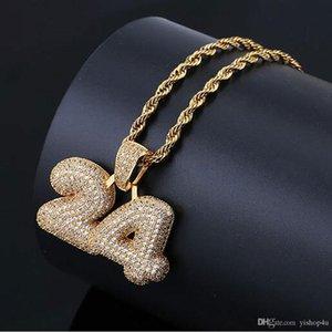 14K FUORI GHIACCIATO LUCKY NUMBER 24 PENDENTE MENS REGALI HIP HOP Micro Pave Cubic Zirconia diamanti simulati collana