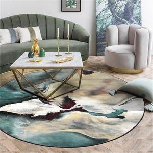 Wishstar Nordic Paisagem Abstrata Pintura redonda Mat Moda Scenic Imprimir Tapete Sala Quarto Ao lado Tapetes Verde Cinza