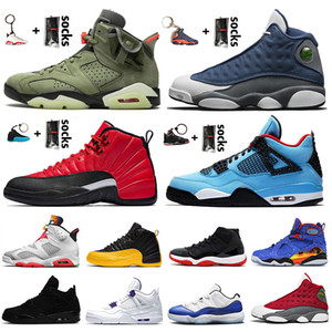 Air Jordan Retro Top qualité Jumpman Chaussures de basket FIBA ​​12s jeu royal Travis Scott 6s Bred 4s 13s 9s Concord 11s Tinker Baskets ciment noir Chaussures de sport