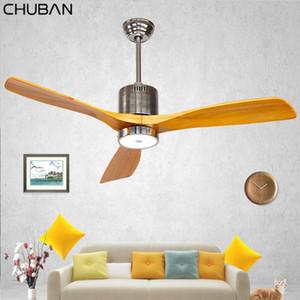 Salon Dekor Uzaktan Kumanda ventilador De Teto 220V Sanayi Vintage Tavan Fan Ahşap ile Işık Ahşap Tavan Fanları