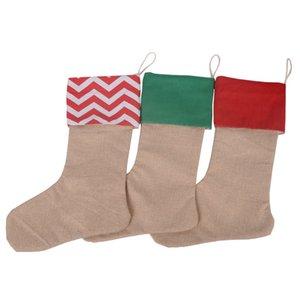 Xmas 12*18inch Gift Canvas Stocking Christmas Large Size Plain Burlap Decorative Socks Bags Dhe509 5fnt