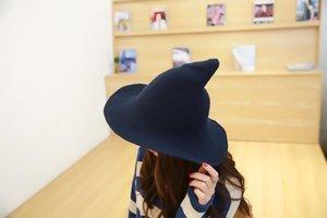 H4 Cadılar Bayramı Cadı Şapka Erkek ve Kız Hediyeler boyunca Kadınların Yün Örgü Şapka Moda Katı çeşitlendirilmiş