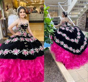 Vintage Mexican Quinceanera Dresses 2020 With Embroidery Ball Gown Puffy Prom Dress Sweetheart Organza Tiered Ruffles Croset Sweet 16 Dress