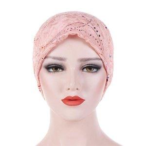 gorros de Verão para as mulheres algodão envoltório cabeça turbante tampas Beading Braid Lace Hat muçulmana Ruffle Cancer Chemo Beanie Cap Enrole Turban