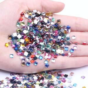 4mm 200pcs Many Colors Acrylic Flat Back Square Earth Facets Acrylic Rhinestone Glue On Beads Decorate Diy