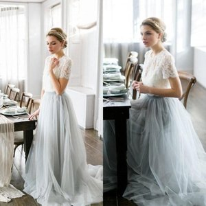 Country Two Pieces A Line Bridesmaid Dresses 2021 Lace Top Short Sleeves Tulle Skirt Maid Of Honor Wedding Guest Prom Gowns Plus Size AL7096