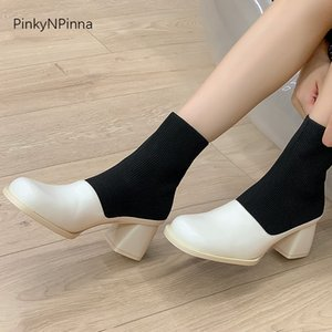 2020 fall new designer women white black ankle boots genuine leather stretchy cotton fabric chunky high heels chic slip on short booties