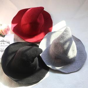 Yeni Cadılar Bayramı Kişilik Sihirbazı Şapkalar 2020 Yaratıcı Fashionaire Trend Tasarımcı Peaked Büyük Brim Yün Şapka Katı Renk Moda VT1685 Caps