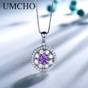 UMCHO Katı 925 Gümüş Ametist kolye kolye Taş İçin Kız Hediye Güzel Takı
