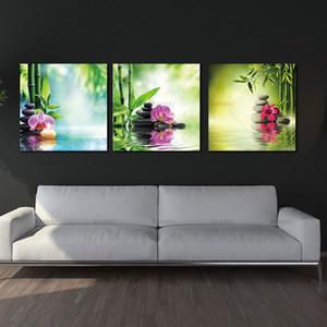 3 Paneller çağdaş Zen Kanvas Duvar sanat Modern Duvar dekor Stone Yatay Yapıt Giclee Kanvas