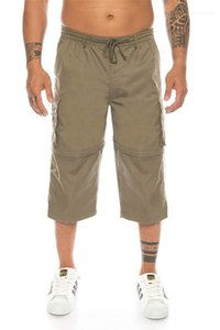 Detachable Shorts Solid Color Homme Summer Pants Summer Men Cargo Shorts Casual Relaxed Drawstring Elastic Waist