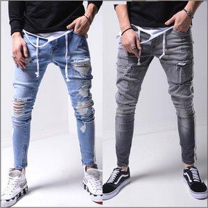 Herren Jeans Retro Blau graue Seitenstreifen Loch High Street gefaltetes dünnes Stretch Jeans Lange Denim Hip Hop-Hosen-Bleistift-Hosen für Männer