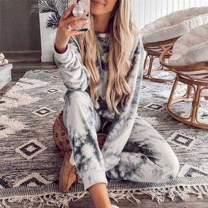 Tie Dye Velvet Anzug Frauen Zweiteiler Herbst Kleidung Langarm-Oberteil und Hose Pyjamas Suit Female Lounge Wear Outfits
