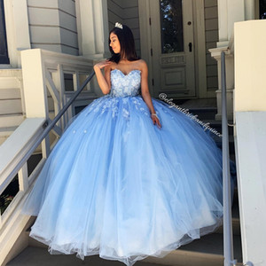 Sky Blue Simple Sexy Lace Quinceanera Prom Dresses Sweetheart Beaded Hand Made Flowers Tulle Evening Party Sweet 16 Dress