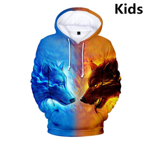 3 до 14 лет Дети Толстовки Подгоревшей Wolf 3D Printed Hoodie Толстовка Мальчики мультфильм с длинным рукавом пальто куртки для подростков Одежды